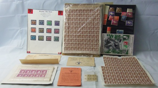 Large Lot Misc. 3rd Reich Stamps-Feld Post-Etc.