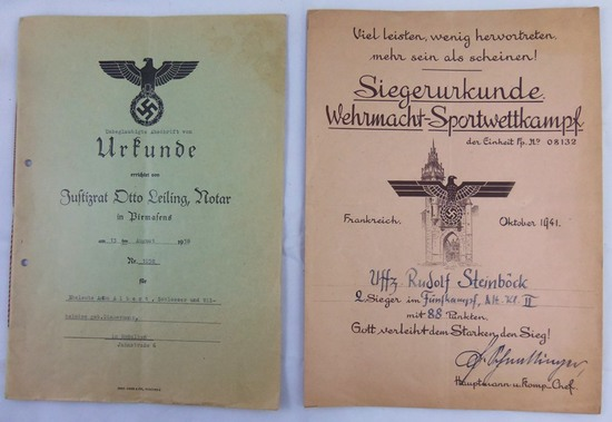 2pcs-3rd Reich Army Sports Camp Certificate-Claims Booklet For Damages