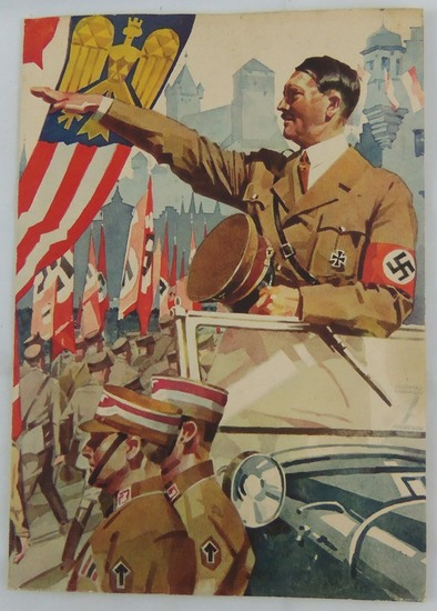 Large Size Hitler Cover 3rd Reich Period Telegram For Sports Participation