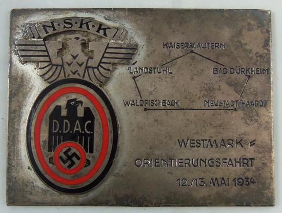 "Early 3rd Reich NSKK/DDAC 1934 ""Orientation Ride"" Participants Plaque Device"