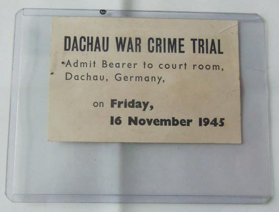 Scarce WW2 Dachau War Crimes Trial Pass November 16, 1945