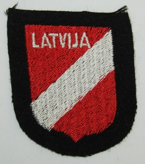 """Waffen SS Latvian Foreign Volunteers Arm Shield """"SS Lettische Nr.1/Nr. 2-3rd Pattern"""