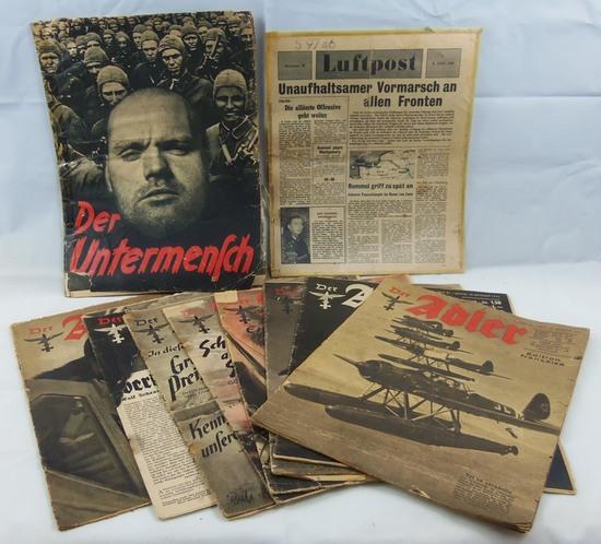 10pcs-Misc. WW2 Period 3rd Reich Magazines-Luft Post-Der Adler Etc.