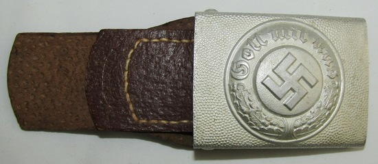 WW2 German Police EM  Belt Buckle With Leather Tab-Assmann & Sohne