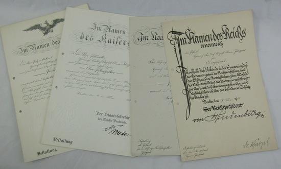 Pre WW1/WW1/Weimar Period German Postal Inspector Promotion Documents-Original Hindenburg Signature