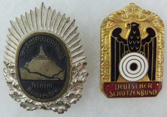 2pcs-WW2 German Organizational Badges-Kyffhäuserbund-Schutzenbund