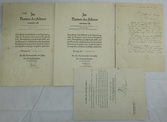 WW2  Promotion Document Grouping Named To 3rd Reich Justice Official