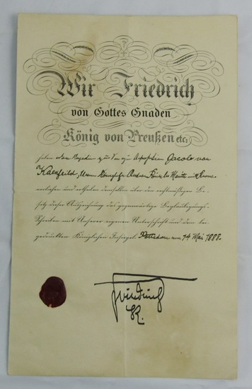 Rare Presentation Award Document For Pour Le Merite With Crown
