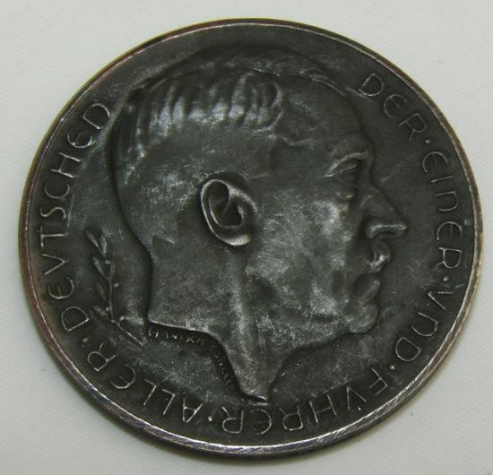"""Scarce Variant Hitler Austrian Annex Commemorative Coin-""""MUNZAMT WIEN ZINK"""""""