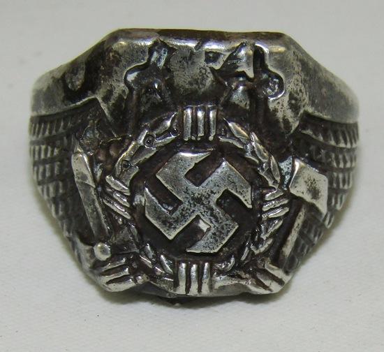 WW2 German Eagle & Swastika Silver Ring
