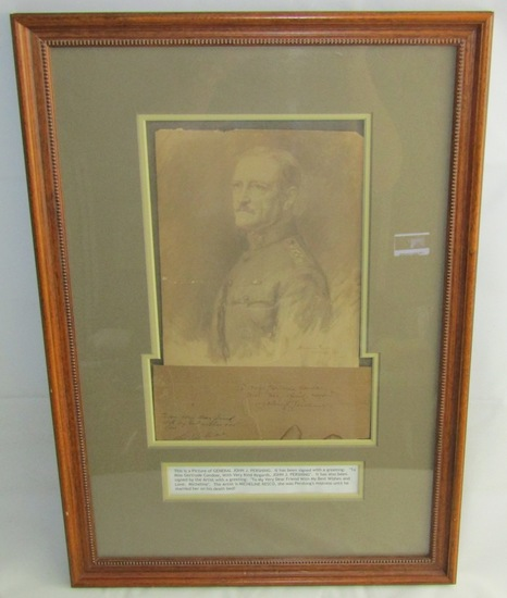 Rare Framed General Pershing Portrait Drawing By Micheline Resco-Pershing Signature