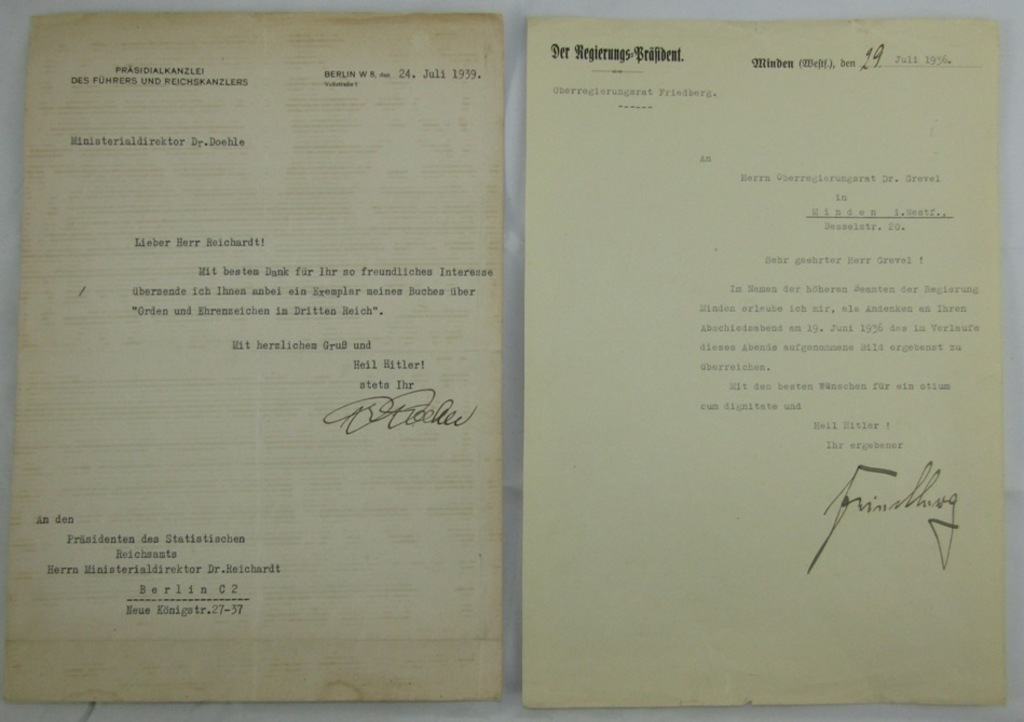 2pcs-Signed 3rd Reich Letters-SS Oberfuhrer Dr. Heinrich Doehle Thank You Letter