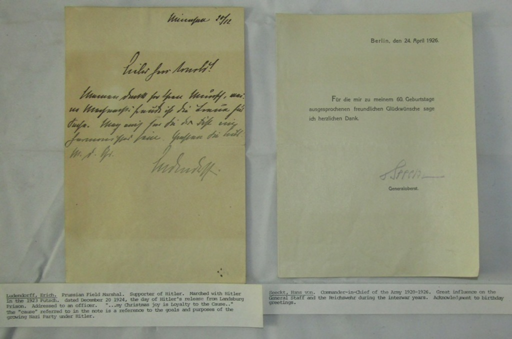 2pcs-Signed Docs/Letters Early 3rd Reich Loyalists-Ludendorff & Von Seeckt