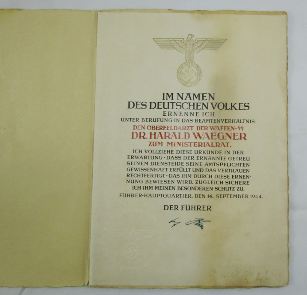 Promotion Document for Civil Service In the Waffen SS-War Criminal Dr. Waegner