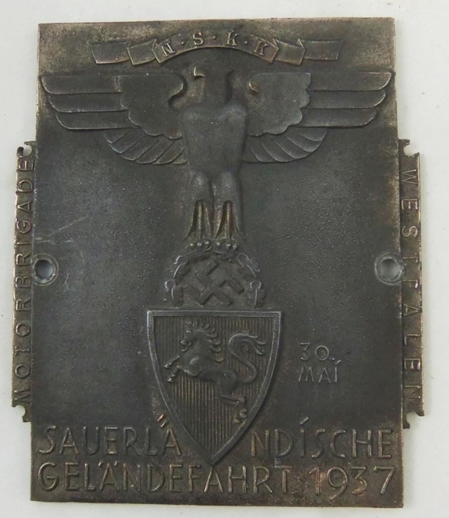 NSKK 1937 Sauerlandische Motor-Brigade Plaque Device