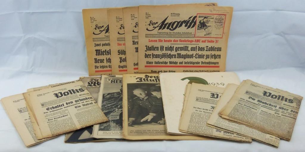 13pcs-Lot Misc. WW2 Period German Newspapers/Magazines-Der Angriff Etc.