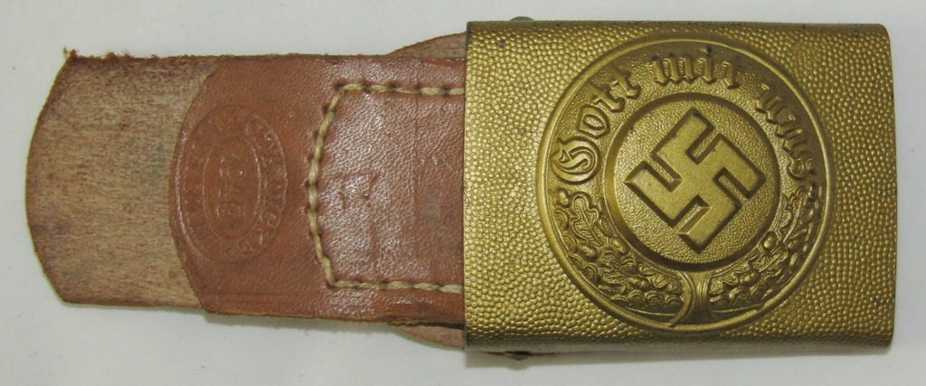 Scarce WW2 Period Nazi Water Police Buckle For Lower Ranks With Leather Tab