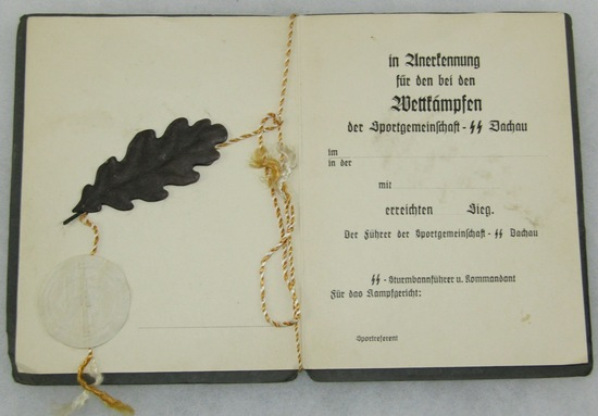 Rare Waffen SS Sports Award Booklet-Dachau Concentration Camp