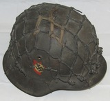 M42 Double Decal Combat Police Helmet With Thick Cord Net