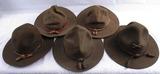 5pcs-WW1/Early WW2 U.S. Campaign Hat Grouping