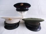 3pcs-USMC White, Blue Dress And Service Visor Caps