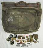 Rare WW2 U.S. 1st/94th Division B-4 Bag W/Artwork-Misc. Insignia-Dog Tags