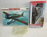 2pcs-Japanese Zero Aircraft Model In box-GI Joe Japanese Pilot (Kamikaze) Figure In Box