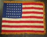 48 Star American Flag-Embroidered Stars on Multi Piece Silk Base-Gold Fringe