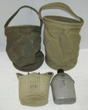 3pcs-WW2 Period Jeep Size Canvas Water Buckets/Canteen With Cover