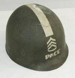Named WW2 U.S. Army Master Sgt. M1 Helmet Liner With Combat Leader Stripe
