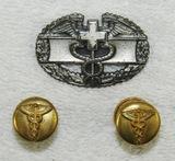 3pcs-WW2 Period U.S. Combat Medic Badge/Pair Medical Cuff Links