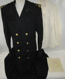 Named WW2 USN Officer LTJG Black Wool Overcoat/White Dress Summer Jacket & Pants