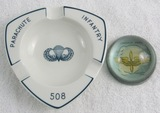2pcs-508th Parachute Infantry Ashtray And US Army Air Corp Glass Paperweight.