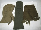 3pcs-WW2 Period U.S. Tanker Cap-Army Green Cold Weather Toque And Wool Flyers Scarf