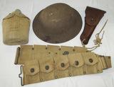 4pcs-WW1 U.S. Soldier Ammo Belt/Helmet/Holster/Canteen