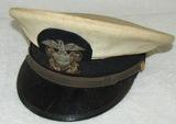 WW2 US Navy Lower Officer Ranks White Top Visor Cap With Bullion Insignia