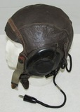 early WW2 US Army Air Corp Leather Flight Helmet With Electronics