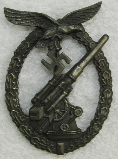 Early Die Struck Luftwaffe Flak Badge-Gustav Brehmer