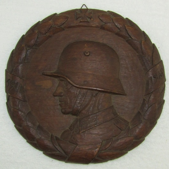 Unique One Of A Kind WW1 German Soldier Hand Carved Plaque-Artist Signed