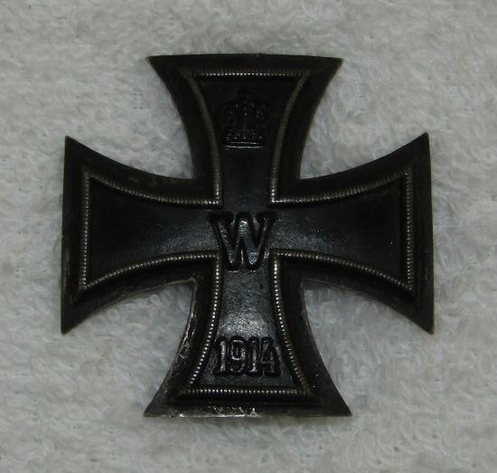 Early WW1 German Iron Cross 1st Class W/Pin Back-Semi-Vaulted-.800 Silver