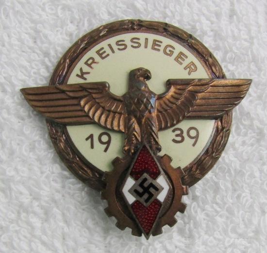 Scarce 1939 Hitler Youth/DAF Kreissieger Badge-Bronze Grade