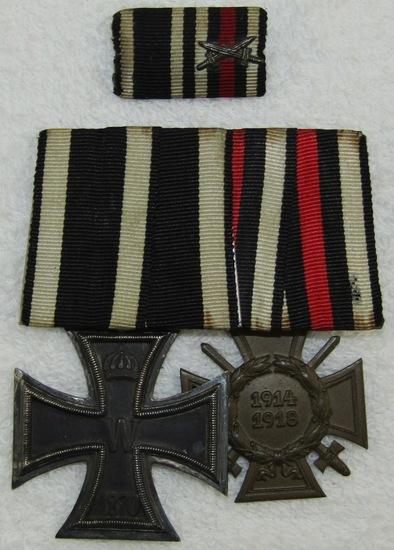 2 Place German Parade Mount Medal Bar With Ribbon Bar-Rare 1870 Iron Cross 2nd Class
