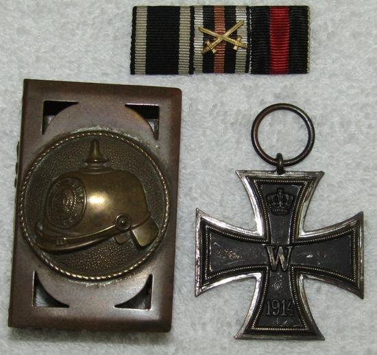3pcs-WW1 German Soldier Match Safe/Iron Cross 2nd Class/Ribbon Bar