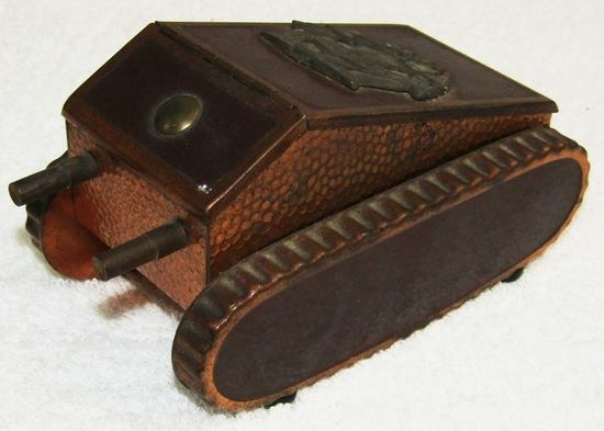 Unique WW1 Period Tank Motif Cigarette Desk Box