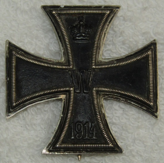 WWI Iron Cross 1st Class-Maker Marked/.800 stamped-Pin Back