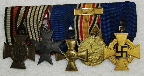WW1/WW2 5 Place Parade Mounted Medal Bar.