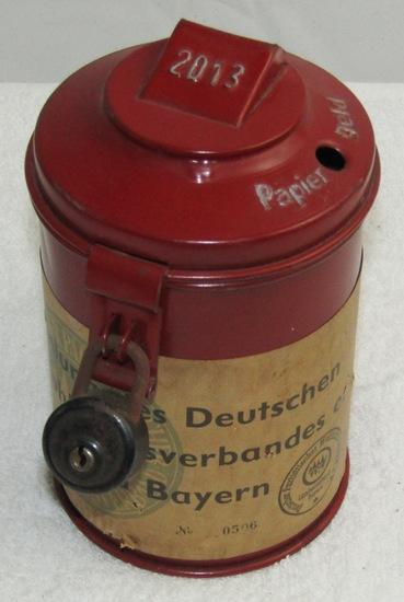 Original WW2 Period German War Drive Donation Can With Lock