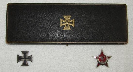 WW1 Period Honor Medal Award/Display Case W/Iron Cross 1st Class/Gallipoli Star