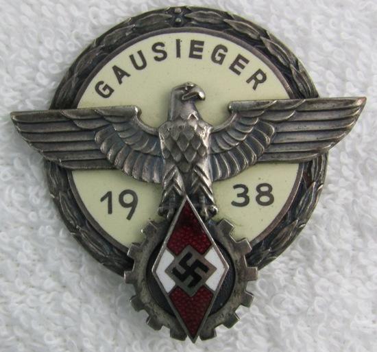 Scarce 1938 Hitler Youth/DAF Gausieger Badge-Silver Grade
