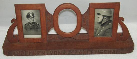 WW2 German POW Soldier Prison Art Hand Carved Wooden Desk/Mantel Picture Frame